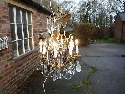 French 8 Branch Ormolu Birdcage Chandelier Lead Crystal  Drops  /4037