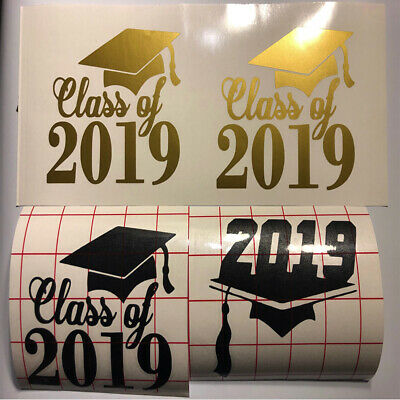 Graduation Class of 2019 Window Decal Bumper Sticker Grad Hat Cap for Car Truck