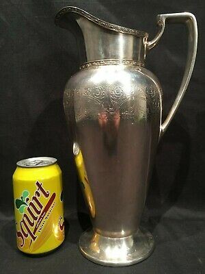 Vtg Wallace Bros Silver Co 64 Ounce Water Pitcher Ice Lip Silverplate EPWM V8101