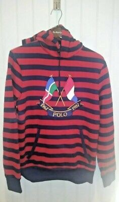 9c92ee91f NWT Polo Ralph Lauren Red Blue Cross Flags Hoodie Mens Sz Large New CP-93