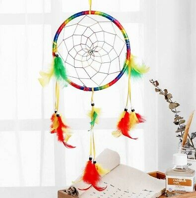 Colorful Dream Catcher With Yellow and Green Feather Room Home House Decor