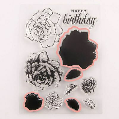 Flower Happy Birthday Clear Stamp Cutting Dies Stencil DIY Scrapbook Cards Craft