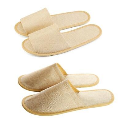 10 Pairs Beige Towelling Open/Closed Toe Hotel Slippers Spa Shoes Disposable LOT