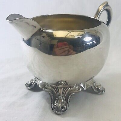 Vintage 1883 F B Rogers Silver Co 1083 Footed Creamer Pitcher Tea Coffee Plated
