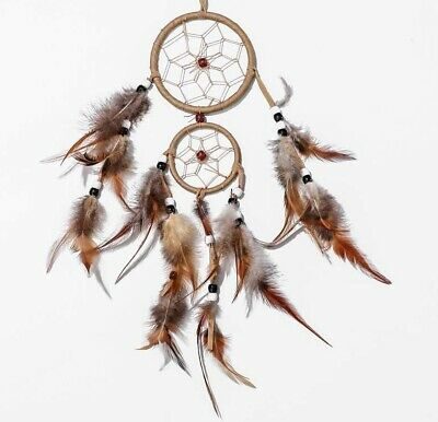 Handcraft Dream Catcher Brown feather Ornament Bead Wall-Car Hanging Pendant