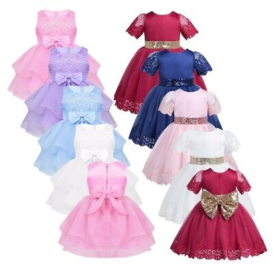 Infant Baby Party Wedding Dresses Toddler Pageant Bowknot Lace Flower Girl Dress