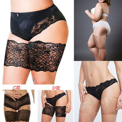 Pair Non-Slip Lace Elastic Sock Anti-Chafing Bands Prevent Thigh Chafing Socks