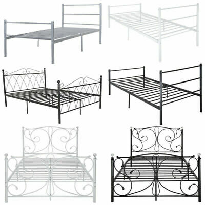 3FT 4FT6 Metal Bed Frame Single Double Bedstead Bedroom in Strong Structure