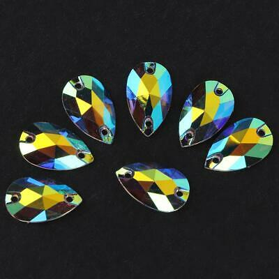 50X Water Drop Shape Glass AB Crystal 2 Hole Flat Back Sew-on Beads Crafts Decor