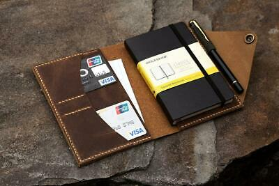 Real genuine leather cover for moleskine classic notebook POCKET 3.5 x 5.5 inch