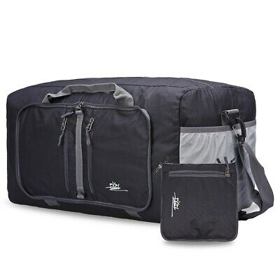 Travel Foldable Duffel Bag Carry-ALL for Women & Men, with Big Capacity (Gray)