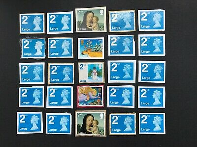 50  x UNFRANKED  'LARGE'    2nd  class stamps ON paper  -  Face Value £41.50
