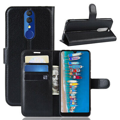 For Alcatel 3 2019, Classic Flip Leather Wallet Stand Case Card Slots Soft Cover