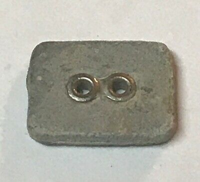 Rare very old antique vintage rectangle stone metal holes button #5922