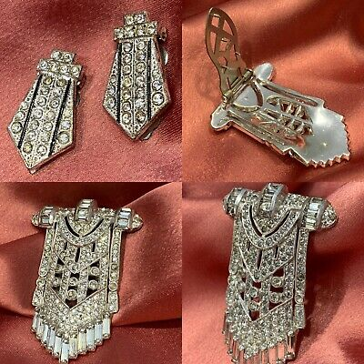 1920-30s Antique/Vintage Art Deco Rhinestone BROOCH/SHOE CLIPS-Silver 3PC