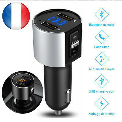 Allume-cigare LCD Bluetooth Calling FM Émetteur Radio AUX USB MP3 PORT FR