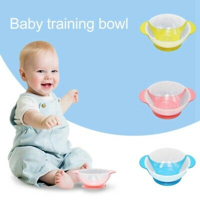 BPA-Free Plastic Childs Training Bowl Double Ear Suction Cup Baby Sucker Bowl