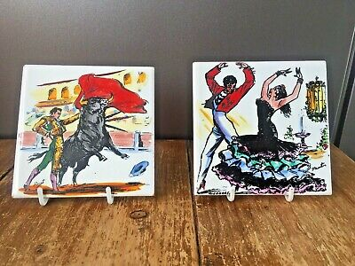 2 Mid Century Spanish Sanchis Alcora Signed Trivet Tiles Matador Salsa Dancing