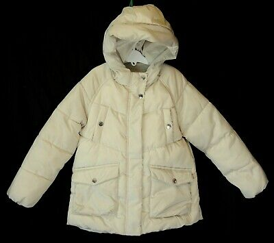 Girls Zara Cream Beige Shimmer Padded Hooded Puffa Coat Age 8 Years