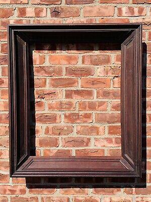 Rare 1830 Pennsylvania Workshop Mahogany Deep Mold Miter Banded Picture Frame