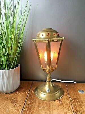 Vintage Brass Street Light Lantern Night Bedside Lamp Retro Textured Glass Stars