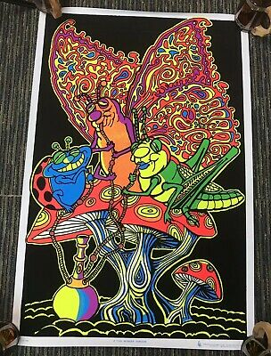 "Vtg 90s Wonder Shroom Insects High Stoned Flocked Blacklight 35""x23"" Poster 1997"