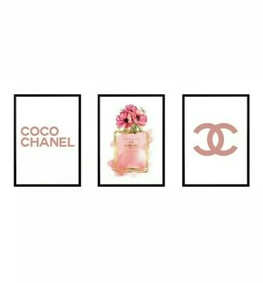 3x Coco Chanel Print, Poster, Wall Art, Digital Prints, Home Decor, Perfume, A4