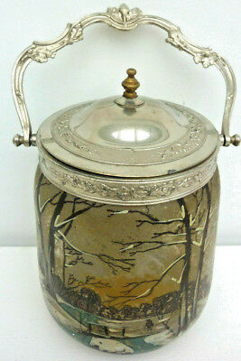Antique French enameled glass & silvered metal, candy, cookies jar basket LEGRAS