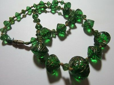 """Antique 18"""" Czech Glass (molded pressed incised) Bead Necklace, 1870-1905"""