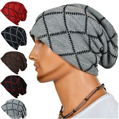 Beanie Hat Mens Ladies Knitted Wooly Winter Oversized Slouch Hat Hip-Hop Cap Pop