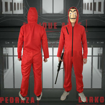 Chaud Hallowmas La Casa De Papel Salvador Dali Red Jumpsuit masque Costume Cospl