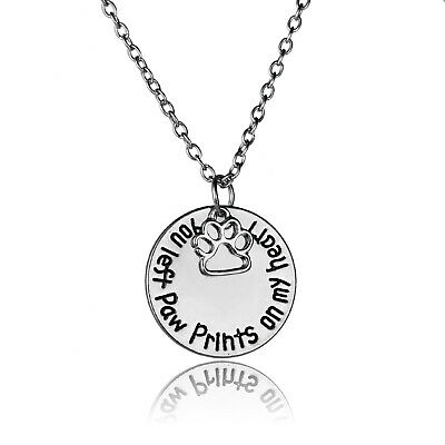 You Left Paw Prints On My Heart Silver Pendant Chain Necklace Pet Lovers Gifts