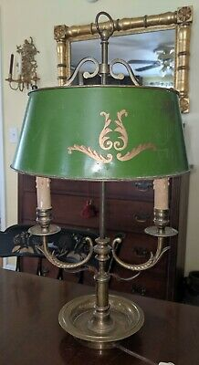 Antique Brass & Toleware Adjustable Table Lamp Elegant French Style