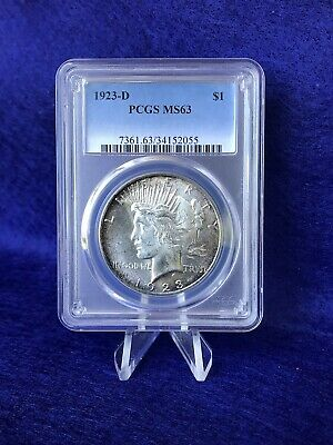 "1923-D  Peace Silver Dollar $1 ""hard Struck"" *pcgs Ms63 Choice Brilliant Unc*"