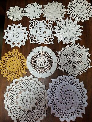 12 Crochet White Doilies Lot Country Wedding Table Runners Coasters