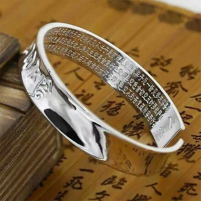 Solid 999 Sterling Silver Bangle Buddhist Heart Sutra Open Bangle S999 33g