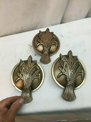 Vintage Brass Door Window Sash Cover Plate 3pc Wheat Shock
