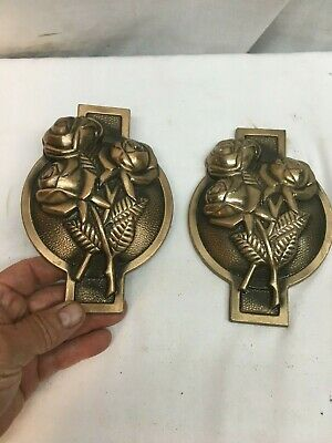 Vintage Brass Door Window Sash Cover Plate 2pc Rose Bush