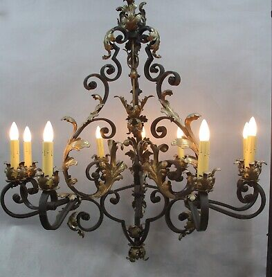Antique Large Spanish Revival Tudor  Iron & Bronze Chandelier Light (11908)