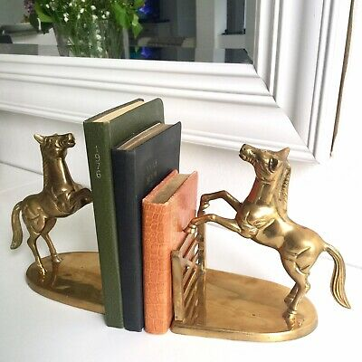 Pair of Heavy Brass Horse Bookends Equestrian Chic w/ Patina Vintage Book Ends