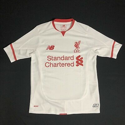 120b94856 New Balance LIVERPOOL FC Standard Chartered White Away 2015 16 Jersey YOUTH  Sm