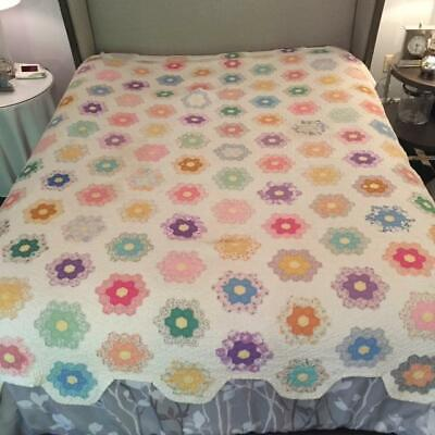 Vintage FLOWER GARDEN QUILT Hand Pieced and Quilted