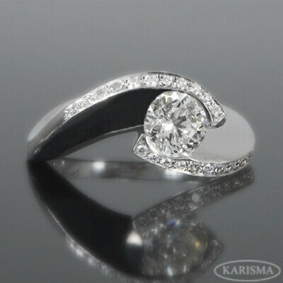 Accents Stones Diamond Ring Round Natural 1.25 Carats 18 Karat White Gold Vvs1