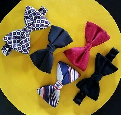 Lot of 5 VTG '70s BIG BOW TIES clip-on & wrap / hook