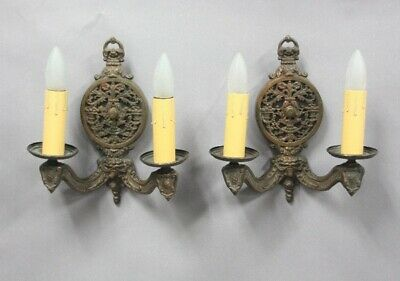 Antique Pair Of Double Spanish Revival Gothic Tudor MissionSconces 11906