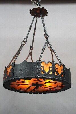 Antique Spanish Revival Mission Wrought Iron And Mica Chandelier Light (11912)
