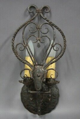 Antique Pair Of Double Wrought Iron Spanish Revival Gothic Tudor Sconces 11904