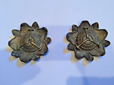 SET OF 2 ANTIQUE 1800'S FLORAL BRASS or BRONZE CURTAIN TIE BACKS HARDWARE