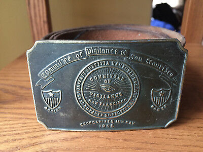 Vintage 1856 Committee of Vigilance of San Francisco Leather Belt & Buckle