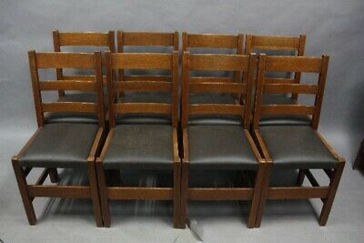 Set Of 8 Arts & Crafts Mission Signed L&JG Stickley Ladder Back Chairs (11901)